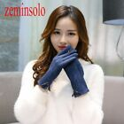 Fashion PU Leather Bow Women Winter Smartphine For Wool Cashmere Mittens Screen