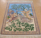 PERSIAN ISFAHANN Hand Knotted Wool Silk PICTORIAL TREE OF LIFE Fine Rug 4 x 5