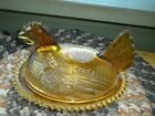 Vintage Amber Glass Chicken Hen on Nest Covered Candy Dish Bowl Collectible