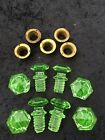 Antique Green Glass Drawer Pulls Knobs Lot Of 8 Matching