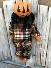 Primitive Folk-Art Halloween Fall Grungy Pumpkin Boy Doll