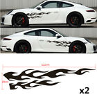 2x Car Racing 48 Black Flame Graphics Side Body Vinyl Decal Stickers Universal