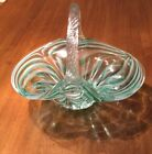 Green And White Clear Glass Candy Dish Basket