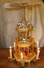 German Christmas Pyramid Putz Nativity Candles Ornament Tree Windmill Toy WORKS
