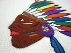 Vintage 80s GITANO KNITS BIG CHIEF Native American Indian Head Sweater ExcL