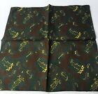 "Vintage Paisley Pocket Square Brown Green Yellow Silk 14"" Handkerchief"