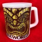 Vintage Tiki Face Coffee Mug Sea World Federal White Milk Glass Cup 10oz