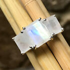 Genuine Rainbow Moonstone 925 Solid Sterling Silver 3 Stone Emerald Cut Ring 6