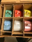 6 Vintage NOS  Glasbake Lipton Square Mugs Coffee Cups Soup Bowls Pastel Retro