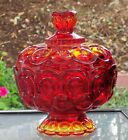Star Amberina Footed Lidded Candy Dish (mint condition)