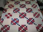 Fabulous Antique Vintage 4 Patch Quilt Top c1900s-hand pieced Shirting fabrics