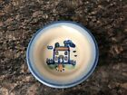 MA Hadley HOUSE Coaster Pin Dish Small Blue Handpainted Pottery Signed
