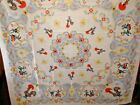 Vintage Tablecloth White with Dutch Boy  Girl  Roosters 56 X 56