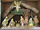 VINTAGE LARGE 19 LONG ITALY NATIVITY SET WOOD CRECHE IN ORIGINAL BOX