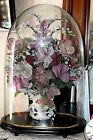 VINTAGE (1900-1950) FRENCH GLASS-BEADED FLOWER ARRANGEMENT GLASS DOME