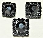 Lot of 3 Vintage Thick Black Lucite w Black Glass/Rhinestone Square Buttos