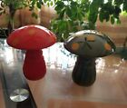 Ceramic Large Green and Orange Mushroom Salt and Pepper Shakers Japanese