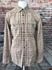 VINTAGE GUESS JEANS MENS LONG SLEEVE COTTON BROWN SNAP BUTTONS SHIRT SIZE LARGE