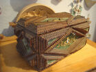 Nice German Wooden Tramp Art Box With 2 Lions Head .............. about 1897