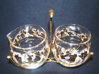 Cream and Sugar Set with Caddy Libbey Pink and Gold Vintage Mint Condition! #3