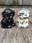 Antique Vintage Black White Puppy Figurines Metal Painted Salt Pepper Shakers