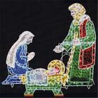 3 PC HOLOGRAPHIC LIGHTED CHRISTMAS OUTDOOR NATIVITY SCENE SET NEW