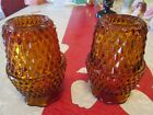 PAIR of Indiana Glass Diamond Point Amber Glass Fairy Lamps Lights EX. Cond.