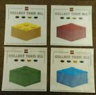 LEGO COLLECT THEM ALL BRICK STICKERS COMPLETE SET BLUE RED YELLOW AND GREEN