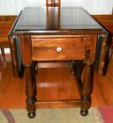 Ethan Allen Old Tavern Colonial Dark Antique Pine Drop Leaf End Table w/ Drawer