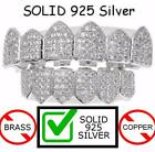 Real SOLID 925 Silver ICED OUT Diamond Custom GRILLZ Teeth Top Bottom Hip Hop