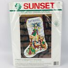 Sunset 18343 Stained Glass Nativity 18 Stocking Counted Cross Stitch Kit 1993