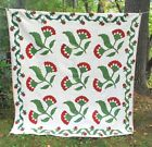19THC HANDSOME APPLIQUE COTTON QUILT WITH EXTENSIVE HAND FEATHER QUILTING