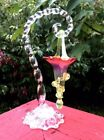 Victorian 1800's Hand Blown Cranberry Opalescent Glass Epergne and Glass Stand