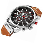 Casual Chronograph Sport Watches for Men Business Quartz Leather Wristwatch with