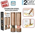 Copper Electric Salt and Pepper Grinder Set Mill Stainless Steel Adjustable LED