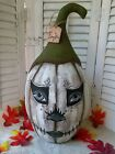 Primitive FoLk ArT Cloth PuMpKiN Doll  OOAK 15 Inches ~ Halloween Decoration~