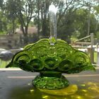 VTG MOON AND STAR GLASS BASKET GREEN CLEAR GLASS HANDLE
