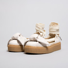 WOMENS PUMA FENTY RIHANNA CREEPER BOW SNEAKER TIE UP SANDALS TAN 140