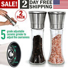 Modern Salt and Pepper Grinders Shaker Gift Set Spice Mill Glass Stainless Steel