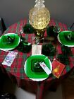 16 Pieces Anchor Hocking Green Charm Cups (x8), Saucers (x6) and Cream