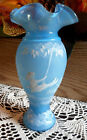 FENTON ART GLASS PERSIAN BLUE MARY GREGORY VASE