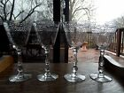 4 WATER GOBLETS GLASSES 7 5 8 Cut Crystal Heisey 3416 1 floral dots VERY RARE