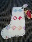 Vintage quilt stocking/heart candy cane tag/ hand stitched