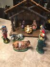 Antique Vintage Old Italy Italian Christmas Paper Mache Nativity Set 12x6x105