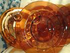 4 Amber Indiana Glass Colony Kings Thumbprint Snack Plates w/cup holder Estate