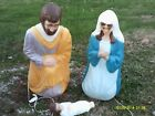 LARGE OLDER MARY JOSEPH JESUS OUTDOOR PLASTIC NATIVITY LIGHT UPS