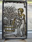 Architectural salvage enameled stained glass window piece Mary at well antique