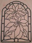 Cottage Stamper Poinsettia Stained Glass Window Rubber Mounted Stamp NEW K811