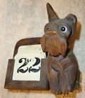 Black Forest Scotty Dog Wood Carving Hand Carved Perpetual Calendar