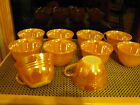 Vintage 10-Fire King Peach Lustre Ware Coffee/Tea Cup/ Punch Swirled Bands
